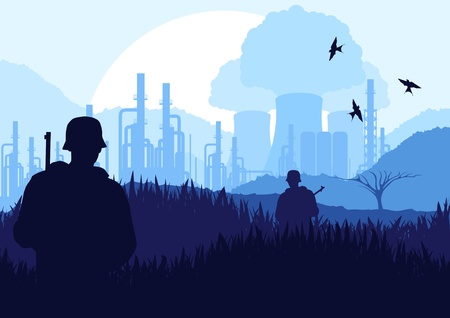 nuclear power station: Animated army guarded nuclear power plant in wild nature landscape illustration Illustration