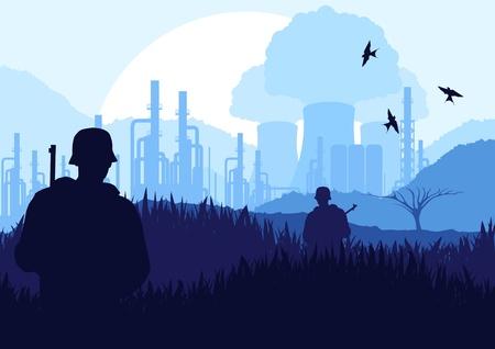 powerplant: Geanimeerde leger bewaakt kerncentrale in de wilde natuur landschap illustratie
