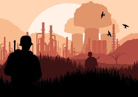 industrial danger: Ej�rcito animado vigilado la planta de energ�a nuclear en la ilustraci�n del paisaje de naturaleza salvaje