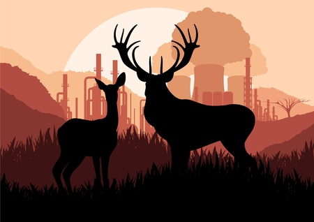 asia deer: Animated rain deer family and nuclear power plant in wild nature landscape illustration Illustration