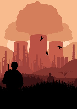 guarded: Animated army guarded nuclear power plant in wild nature landscape illustration Illustration