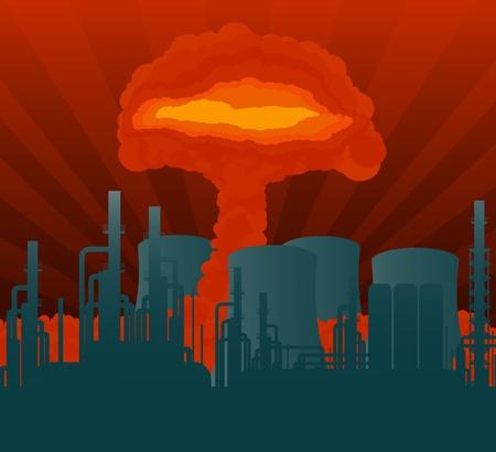atomic explosion: Atomic explosion cloud formed mushroom over nuclear power plant illustration Illustration