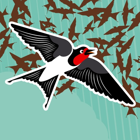 threatened: Flying swallows Illustration