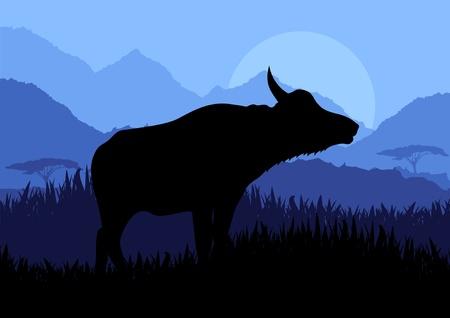 water bird: Animated water buffalo in wild nature landscape illustration Illustration