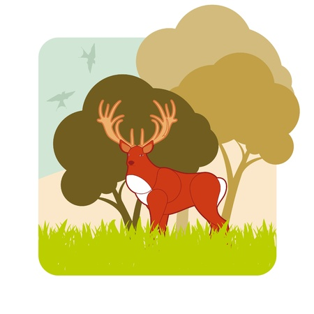 Animated dear hunting season foliage Vector