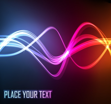 Abstract wave background with neon effects and colorful lights Vector