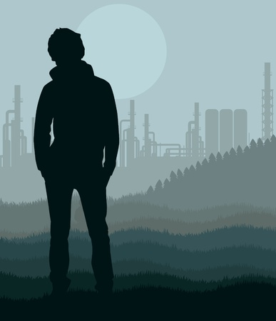 Young man in oil refinery station landscape illustration Stock Vector - 10579680