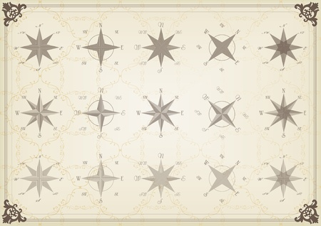 Vintage compass illustration collection Vector