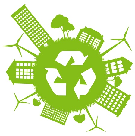 Green ecology energy planet vector concept with recycling arrows Vector