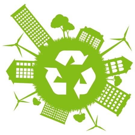 Green ecology energy planet vector concept with recycling arrows Stock Vector - 10579665