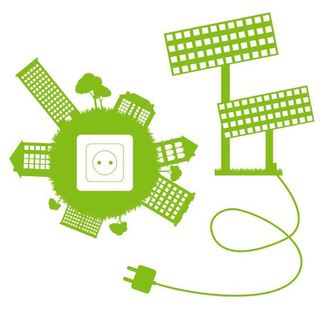 panel: Green ecology energy planet vector concept with socket, plug and solar panels