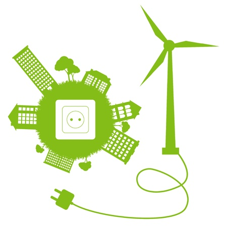 Green ecology energy planet vector concept with socket, plug and wind generator Vector