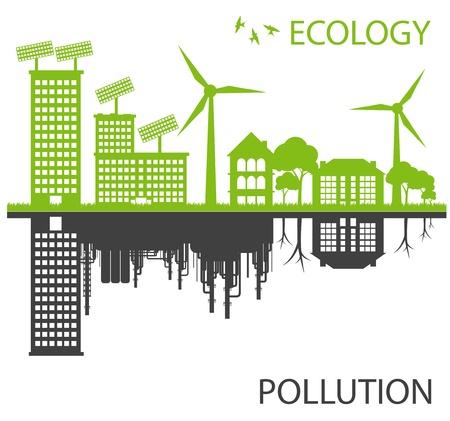 contaminacion ambiental: Ciudad de Ecología verde contra el concepto de fondo de vectores de la contaminación
