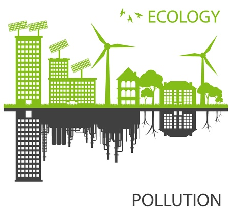 eco energy: Green ecology city against pollution vector background concept