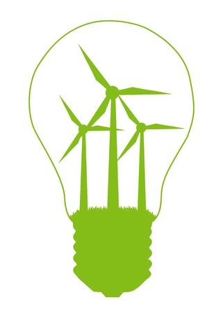 sustentabilidad: Bombilla de luz y viento generador de molino dentro. Fondo de vector de concepto de energía alternativa Vectores