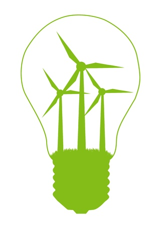 production of energy: Light bulb and wind mill generator inside. Alternative energy concept vector background Illustration