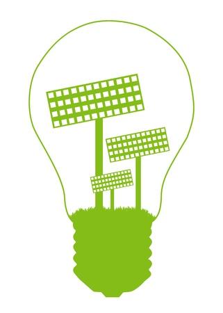 solar equipment: Bombilla y panel solar interior. Fondo de vector de concepto de energ�a alternativa