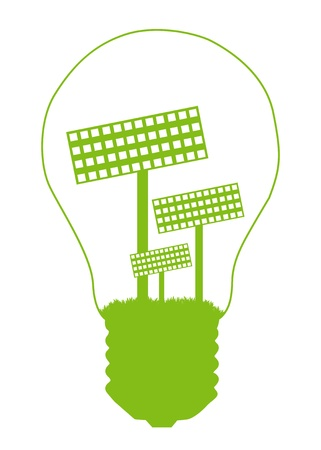 solar equipment: Light bulb and solar panel inside. Alternative energy concept vector background Illustration