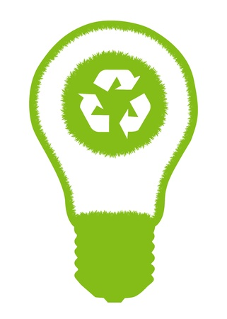 compact fluorescent lightbulb: Green grass light bulb and recycle round inside. Recycling concept vector background