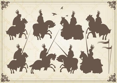 uomo a cavallo: Cavaliere cavaliere medievale e vintage elementi di sfondo illustrazione vettoriale Vettoriali