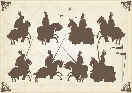 cavalryman: Medieval knight horseman and vintage elements vector background illustration