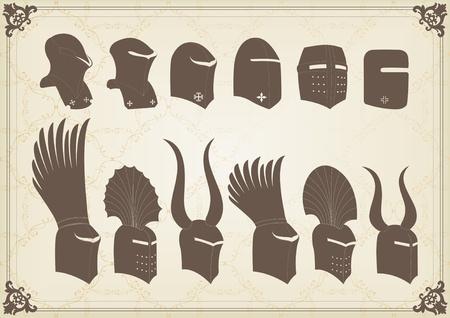 cavalryman: Elementos y cascos de caballero medieval vintage vector ilustraci�n de fondo