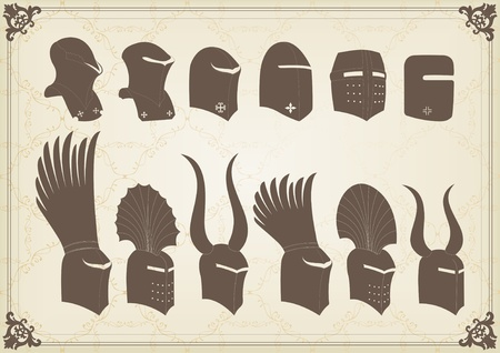 cavalryman: Vintage medieval knight helmets and elements vector background illustration