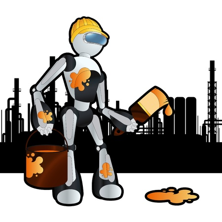 Animated construction site painter robot illustration Vector