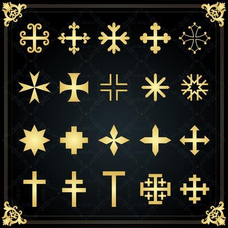 coat of arms: Conjunto de elementos de oro Vintage ilustración vectorial