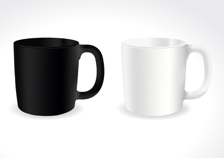 refreshments: Black and white tea or coffee cup with text space