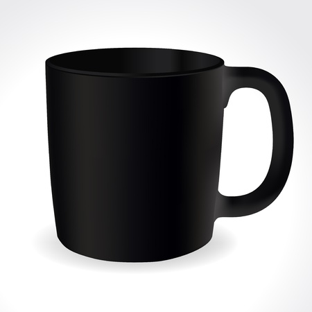 handle: Black tea or coffee cup with text space