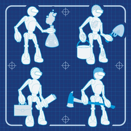 cartoon atom: Animated construction site robot blueprint plans