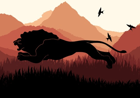 mountain lions: Animated lion hunting in wild nature landscape illustration Illustration