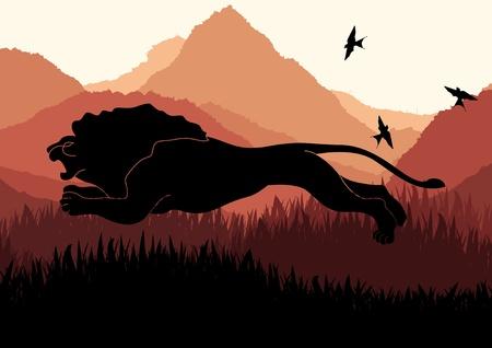 salti: Leone caccia animato in illustrazione selvaggio paesaggio