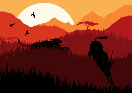 africa tree: Animated lion hunting gazelle in wild africa mountain landscape Illustration