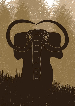 mammoth: Animated mammoth in wild forest Illustration