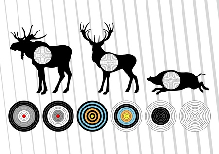 archery: Animated shooting range hunting targets set illustration Illustration