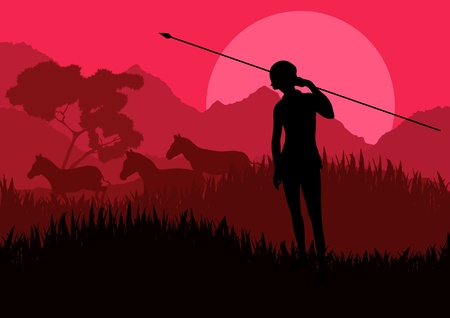 Native african warr in wild nature landscape illustration Stock Vector - 10569031