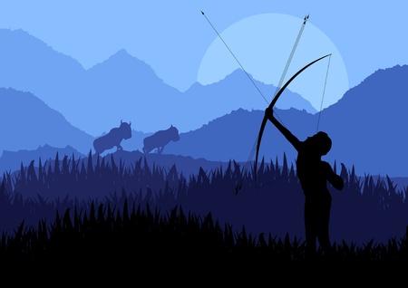 morning rituals: Native african warrior in wild nature landscape illustration Illustration