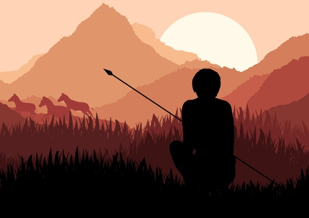 morning rituals: Native african warrior in wild nature landscape illustration Illustration
