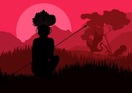 Native african warrior in wild nature landscape illustration Illustration