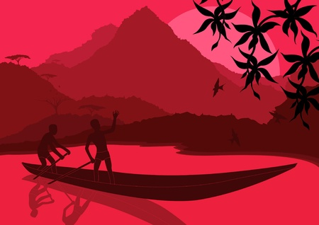 Fisherman in wild african landscape illustration Vector