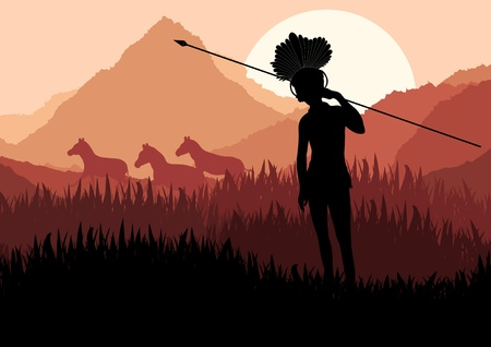 preserve: Native african warrior in wild nature landscape illustration Illustration