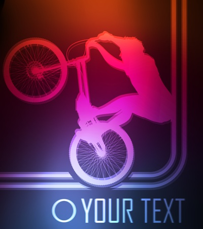 Professional trial mountain bike neon background vector Vector