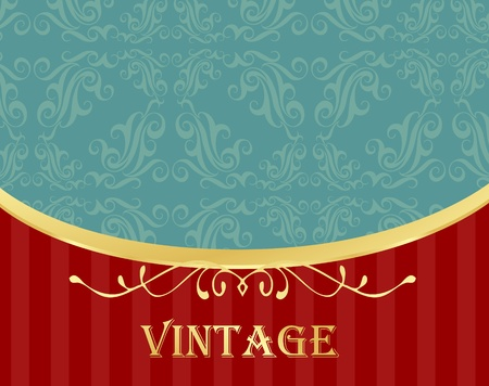 Vintage vector background with golden elements and copy space Vector