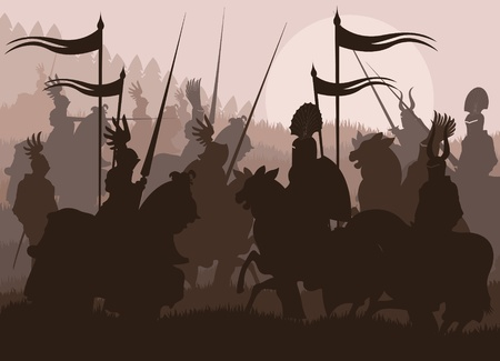 medieval banner: Medieval knights in battle vector background, rider leader duel Illustration