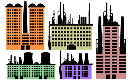 Set of houses and factory vector background for your design Vector