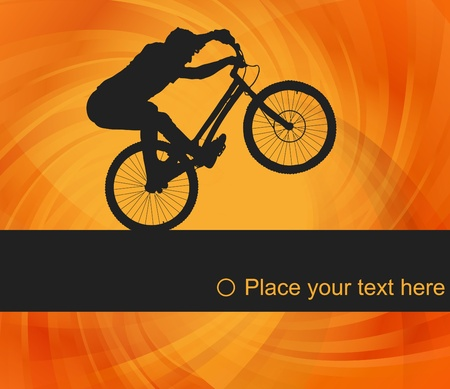trial: Animated mountain bike trial rider background illustration Illustration