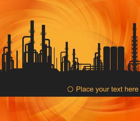 refinería de petróleo: Ilustración de fondo de la estación de refinería de petróleo
