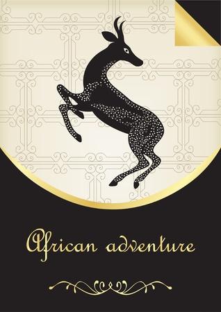 of antelope: Vintage hand drawn safari black antelope card illustration